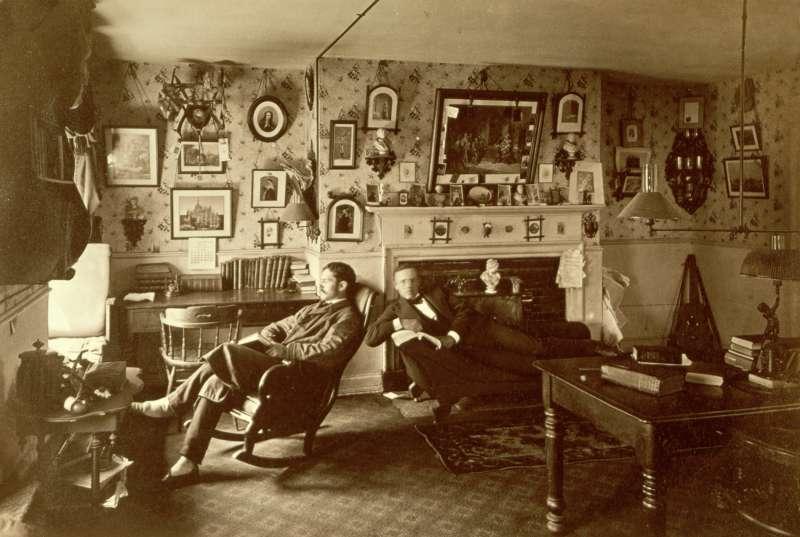 A student room in Harvard University in 1880, Massachusetts.
