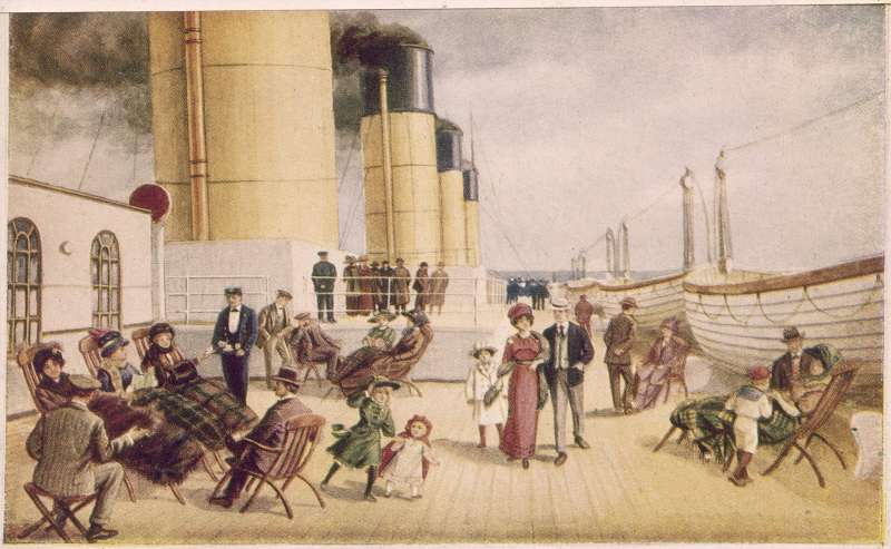 The first class deck of the White Star liner 'Titanic', circa 1912. Advertising poster.