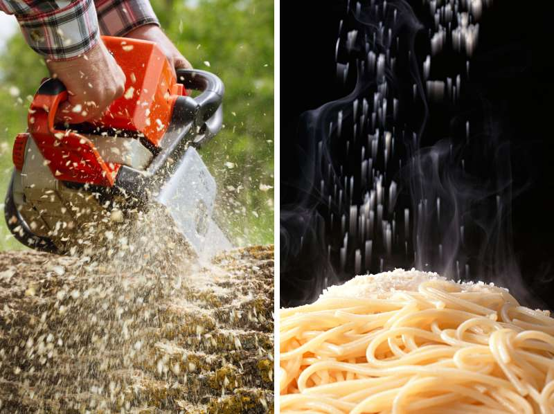 diptych of chainsaw with sawdust and parmesan cheese on pasta