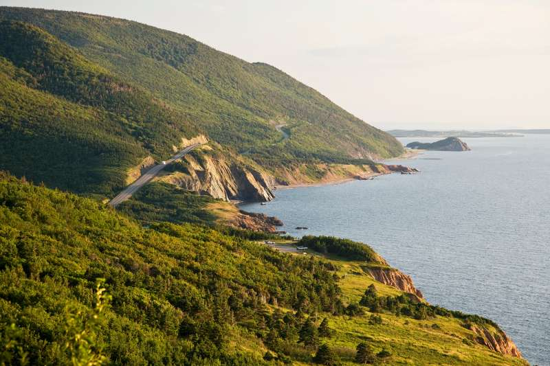 View of Cabot Trail at Cap Rouge, Cape Breton Highlands National Park, Cape Breton Island, Nova Scotia, Canada.