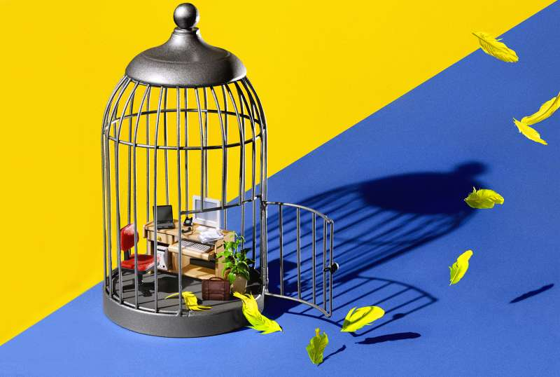 birdcage with miniature office inside, feathers flying