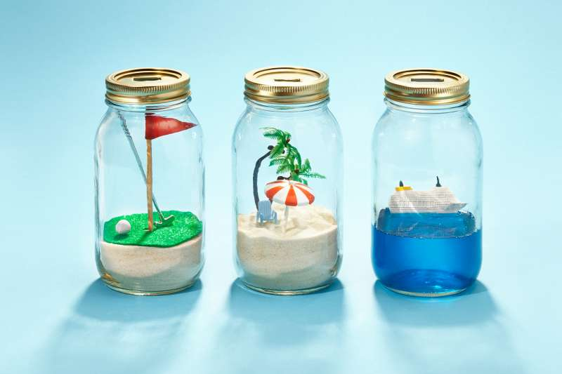 savings jars with retirement scenes in them