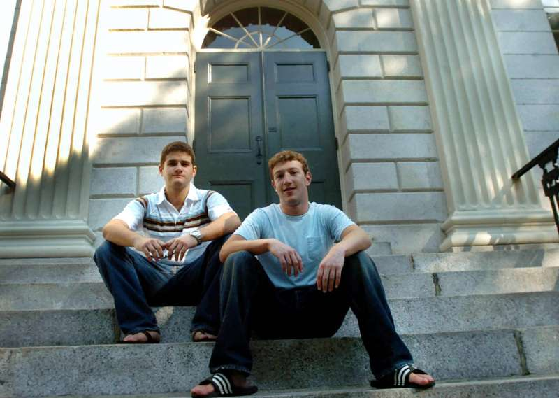 Founder of Facebook.com Mark Zuckerberg, right, and Dustin Moscovitz, co-founder, left; have their photo taken at Harvard Yard, Cambridge, September 12, 2004.