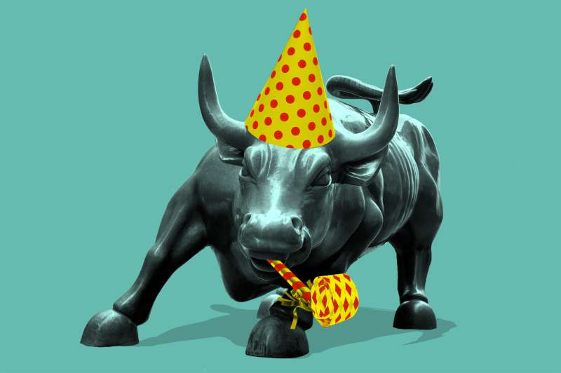 bull statue with birthday hat and horn