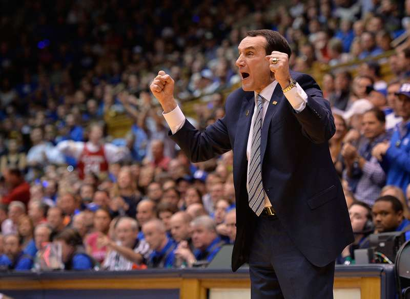 Head coach Mike Krzyzewski of the Duke Blue Devils directs his team during their game against the North Carolina State Wolfpack at Cameron Indoor Stadium on February 6, 2016 in Durham, North Carolina. Duke won 88-80.