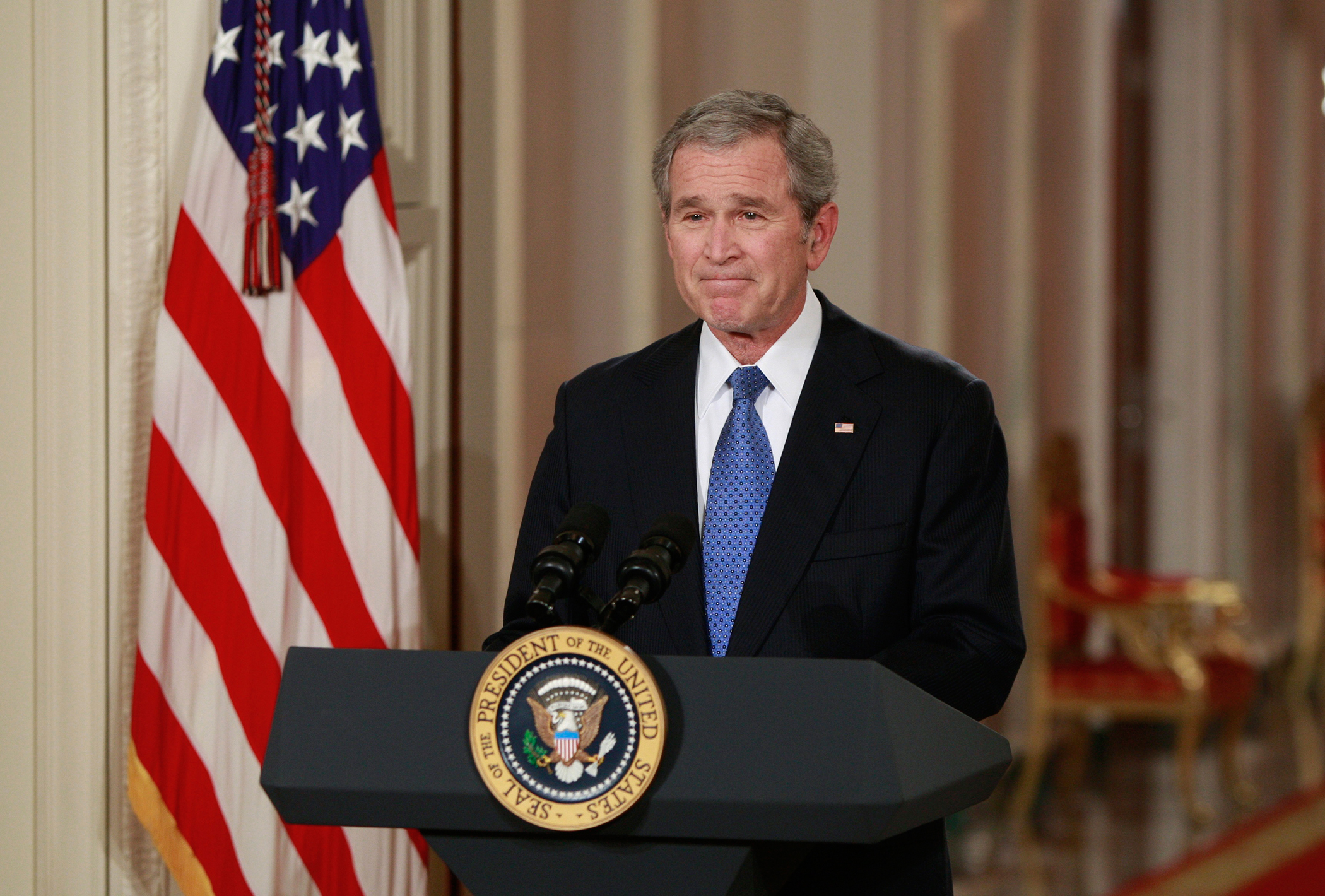 U.S. President George W. Bush completes his final live television address to the nation from the East Room of the White House in Washington January 15, 2009.