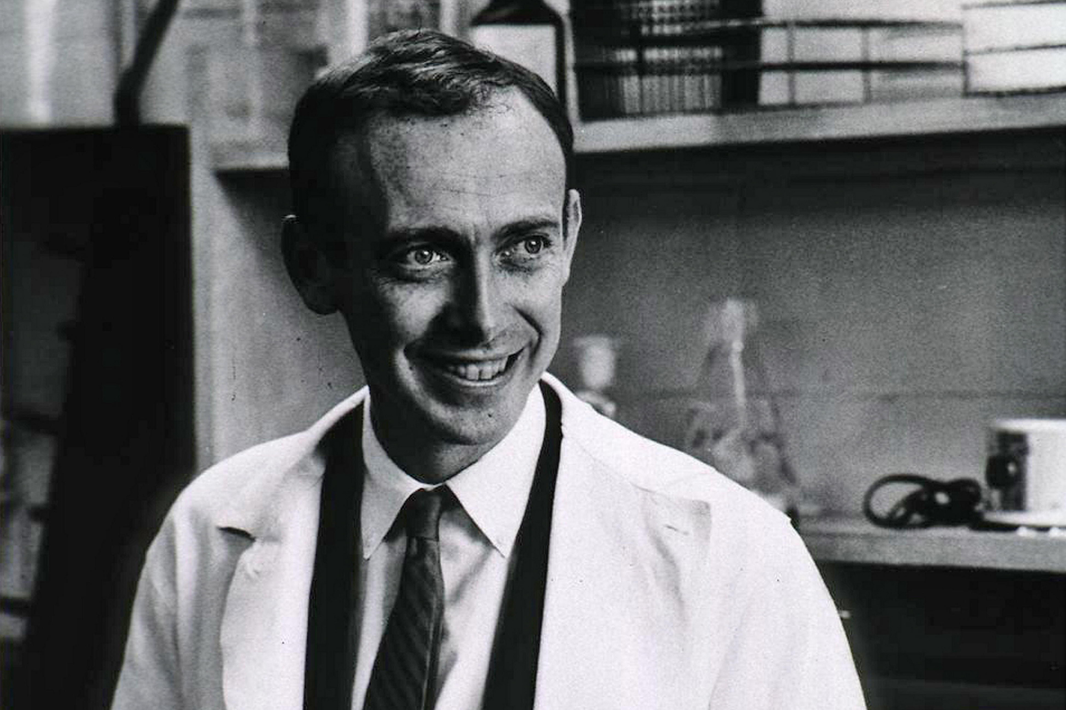 Photograph of James Watson (1928-) an American molecular biologist, geneticist and zoologist, best known as one of the co-discoverers of the structure of DNA in 1953 with Francis Crick, 1953.