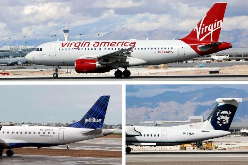 Virgin America, jetBlue and Alaska Airlines