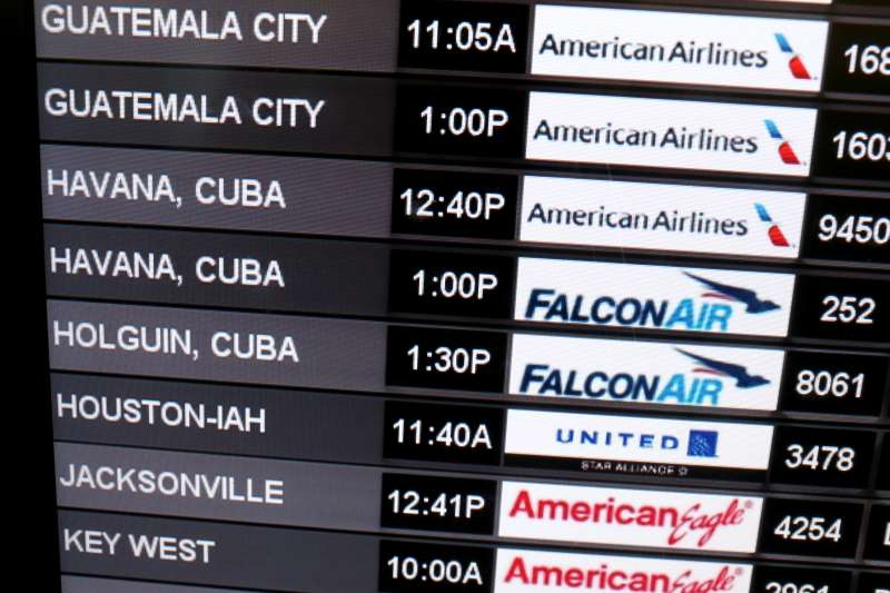 Travelers Check In To Flight To Havana, Cuba From Miami