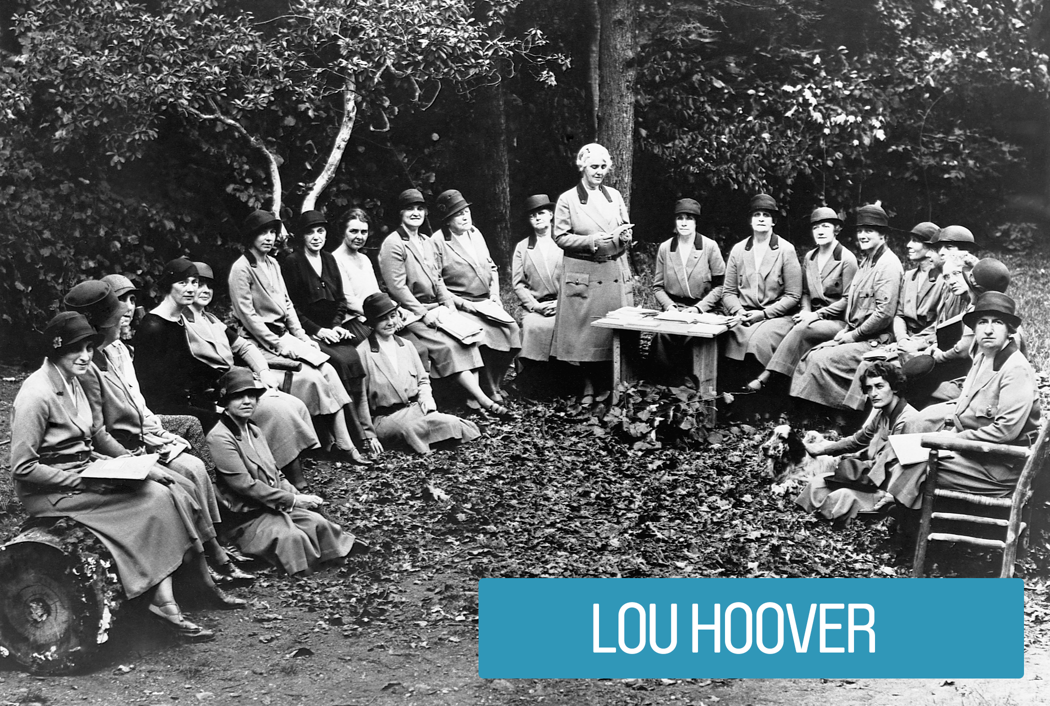 Lou Hoover was the first Honorary President of the Girl Scouts of America while she was First Lady. Moved by the organization's efforts to encourage exposure to nature, independence, self-reliance and its ability to mobilize young women in a time of crisis, she raised money for its expansion and trained its leaders (shown).