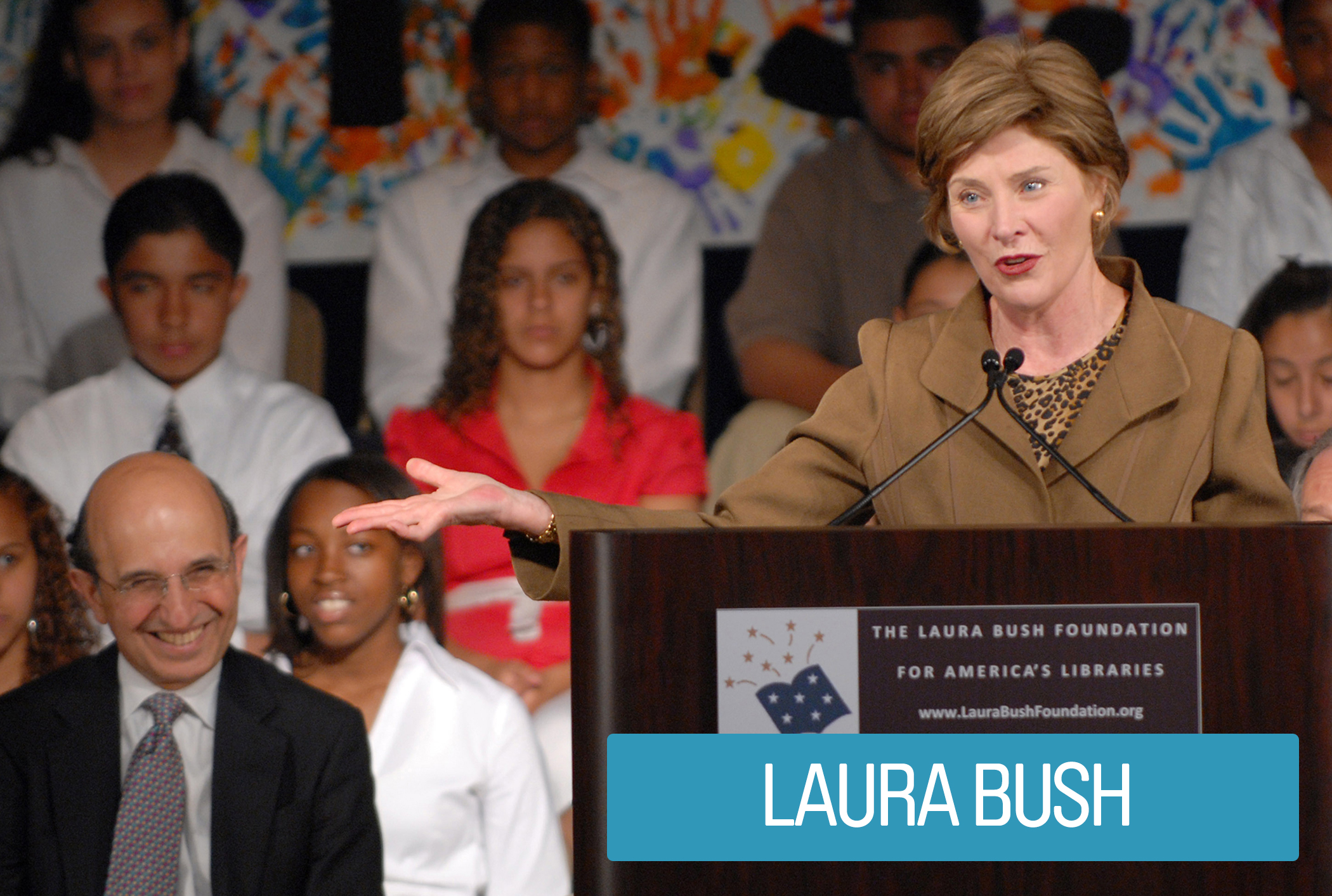 First Lady Laura Bush, a former teacher and librarian, focused on education by advocating for her husband's No Child Left Behind Act that devoted federal funds to local school districts for teacher training, recruitment and raises. She also stressed the importance of early education, global literacy and better library resources.