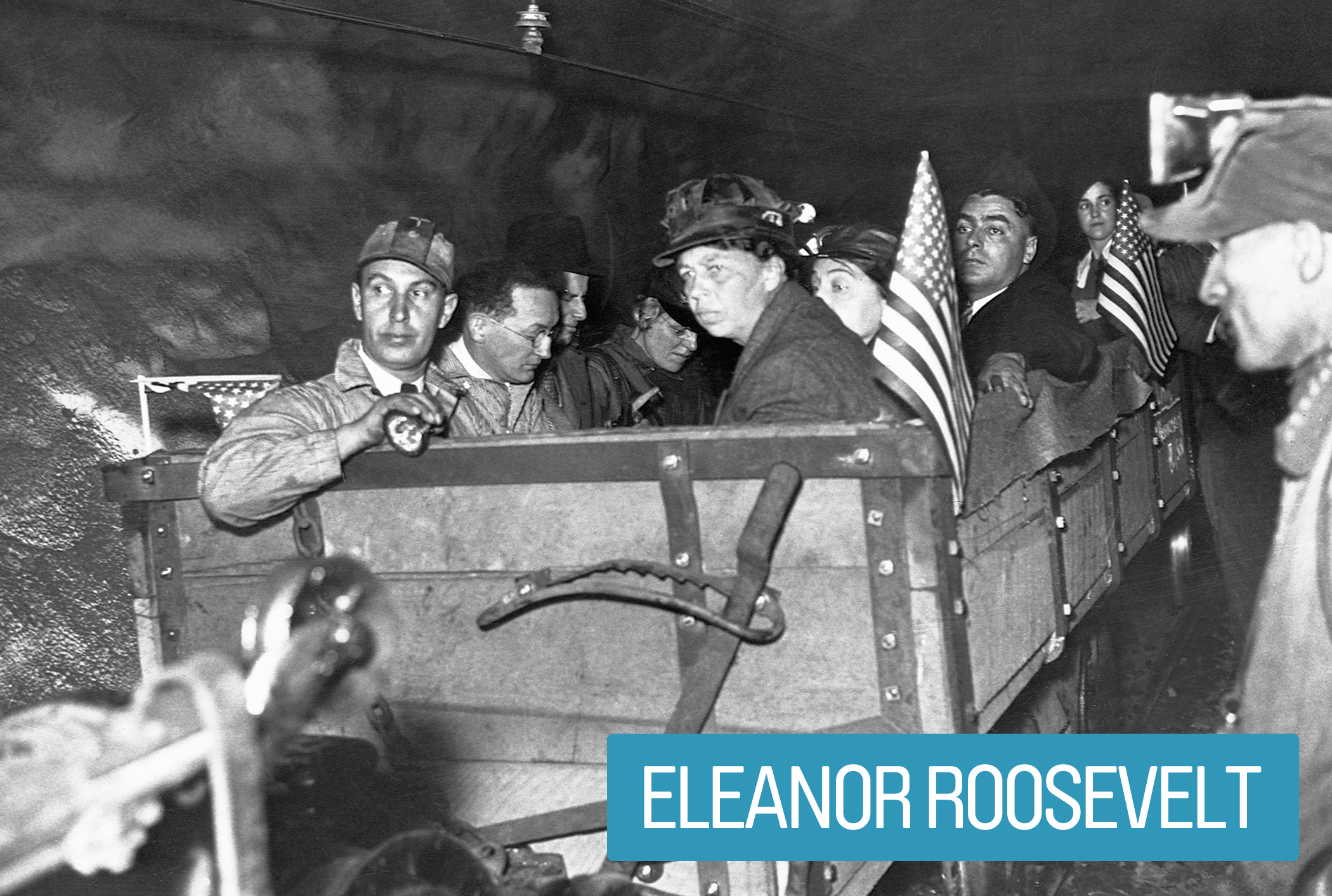 """Eleanor Roosevelt inspected social and economic reform programs associated with The New Deal, ensuring their effectiveness and equal treatment for women, youths, African-Americans and coal miners.                                             During World War II, she rallied wives of the enlisted to work on the home front, popularizing """"Rosie-the-Riveters."""""""
