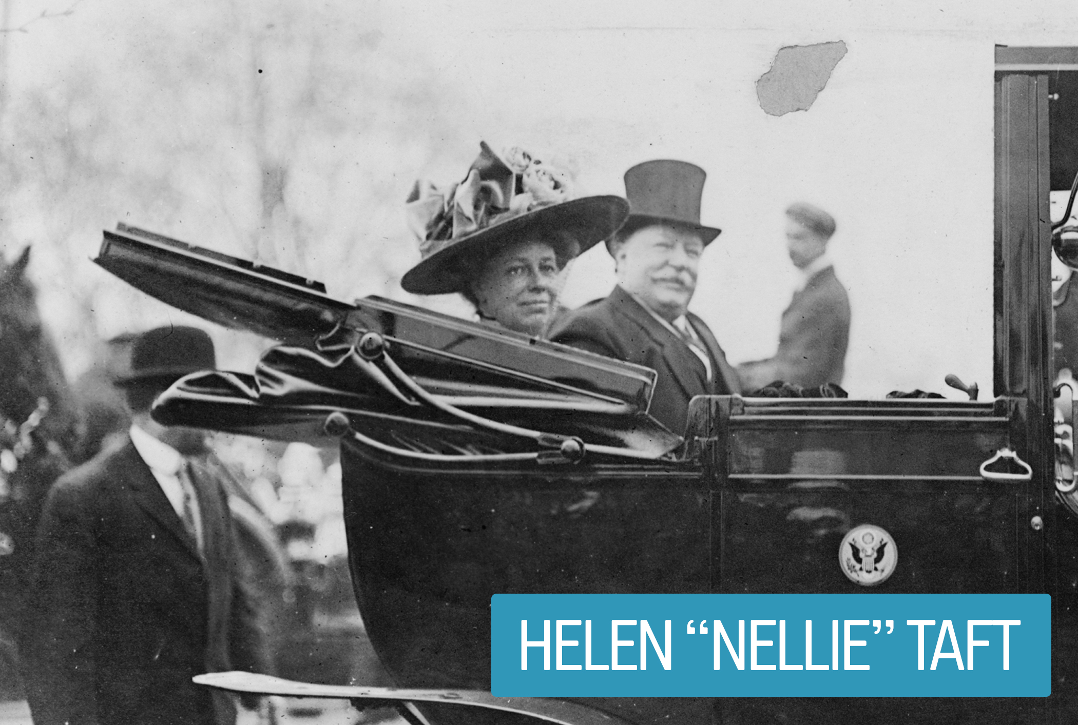 """Helen """"Nellie"""" Taft got a 1912 law passed that set health and safety standards for federal workplace conditions—the first act engineered by a First Lady. Mrs. Taft also upgraded presidential transportation from horse-drawn vehicles to automobiles—negotiating discounts with car companies in exchange for the promotion."""