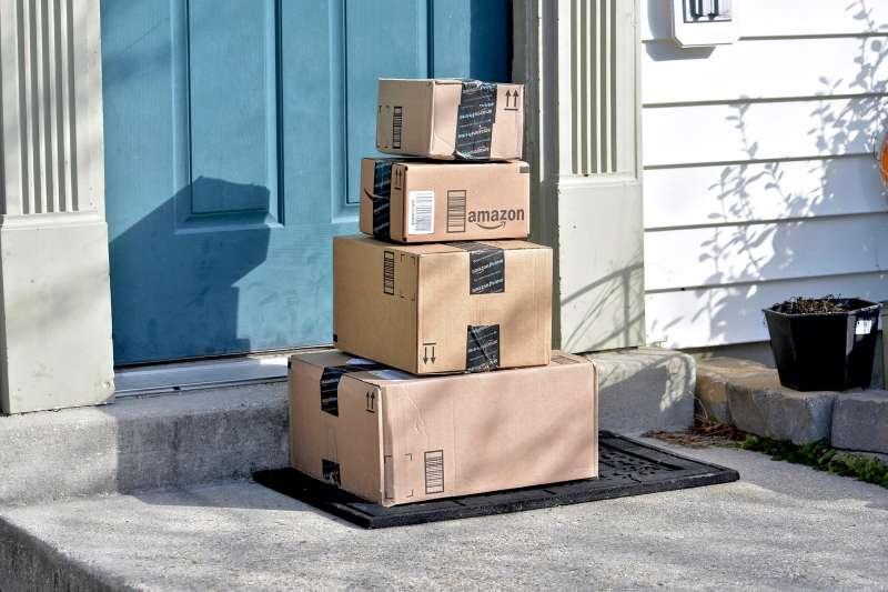 amazon prime boxes outside doorstep