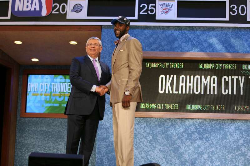 James Harden shakes hands with NBA Commissioner David Stern after being selected third by the Oklahoma Thunder during the 2009 NBA Draft on June 25, 2009 at the WaMu Theatre at Madison Square Garden in New York City.