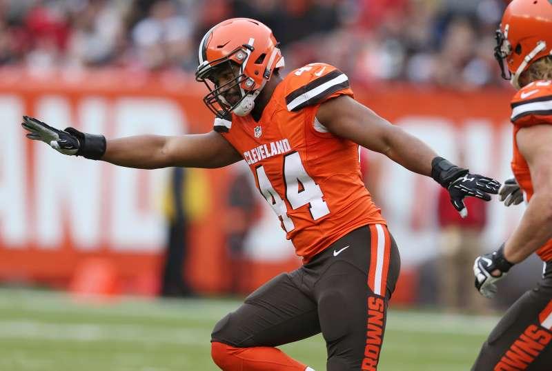 Cleveland Browns fullback Malcolm Johnson (44) celebrates after sacking San Francisco 49ers quarterback Blaine Gabbert