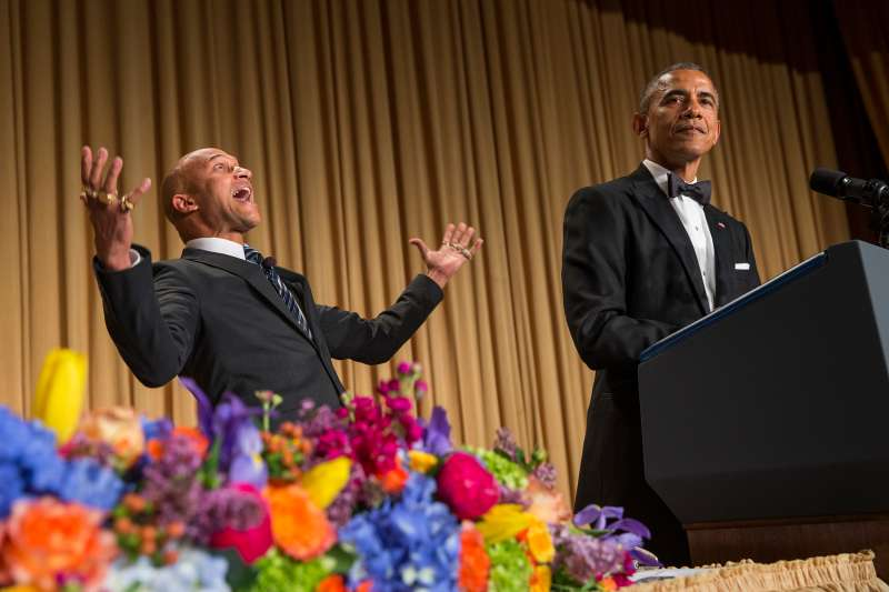 President Barack Obama, right, brings out actor Keegan-Michael Key from Key & Peele to play the part of  Luther, President Obama's anger translator  during his remarks at the White House Correspondents' Association dinner at the Washington Hilton on April 25, 2015, in Washington.
