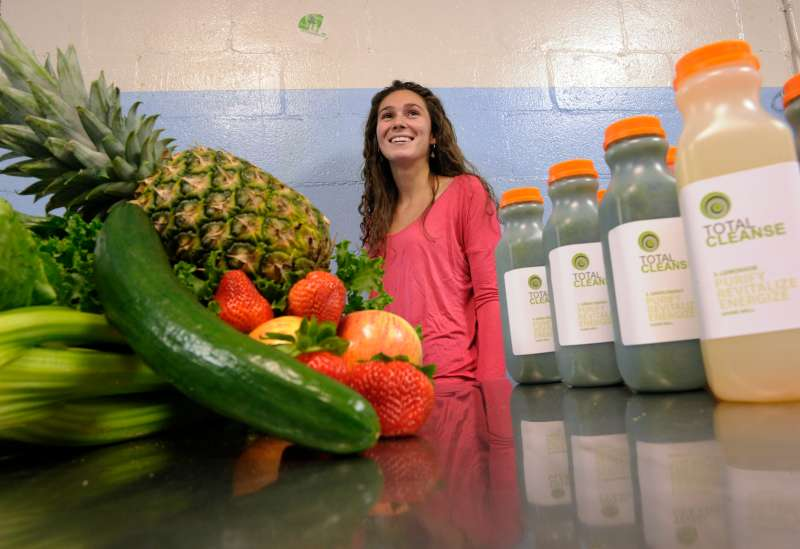 Rebecca Malen of Total Cleanse photographed in her Toronto factory. The company makes fruit and vege