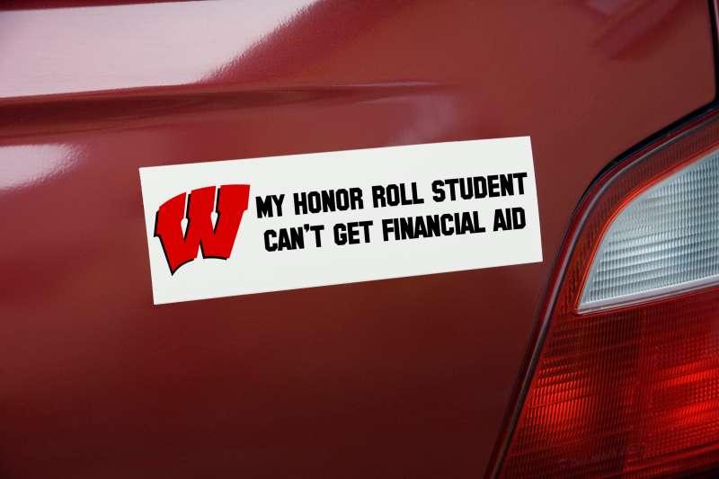 bumper sticker with University of Wisconsin logo