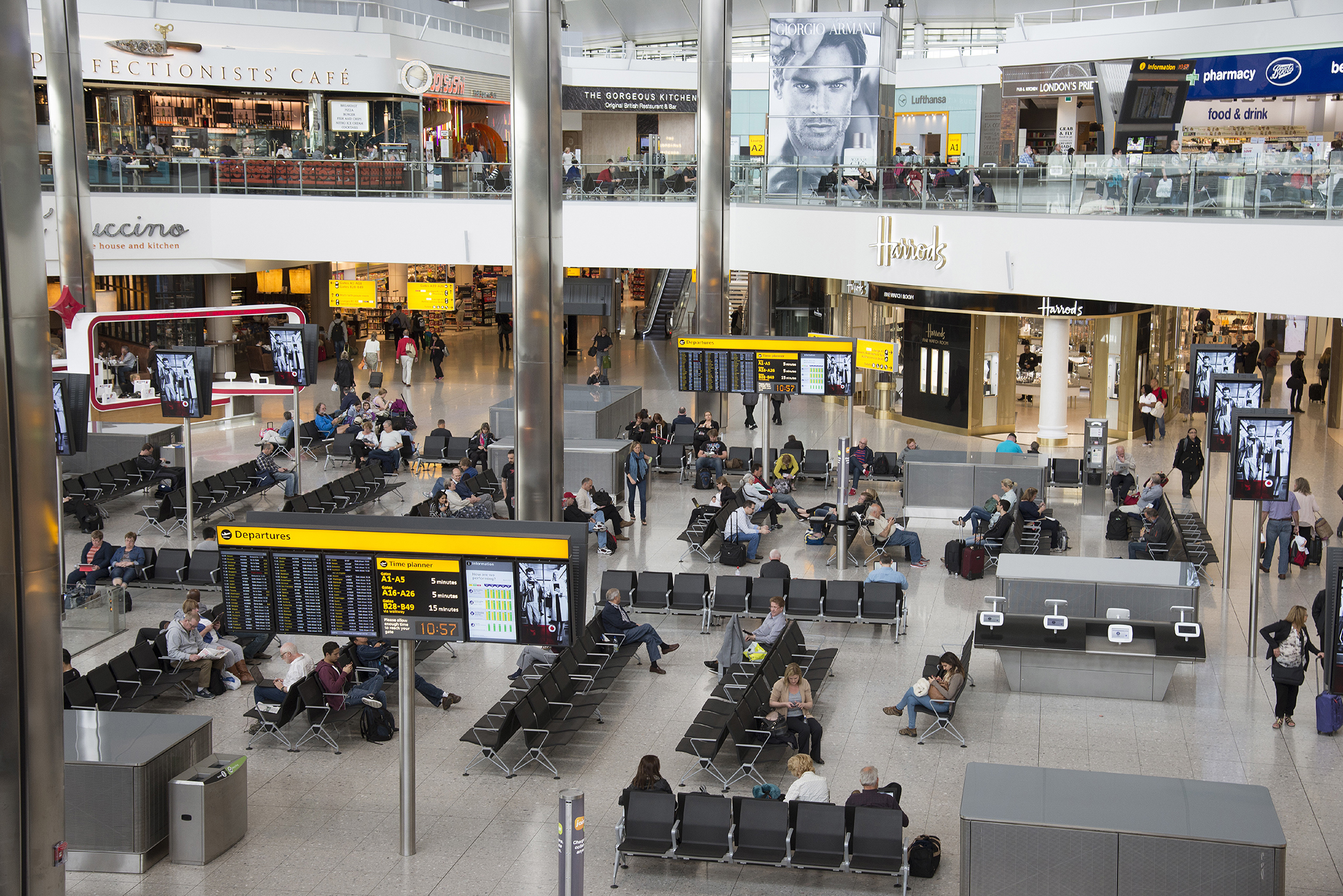Terminal 2 interior of building at London Heathrow Airport UK.