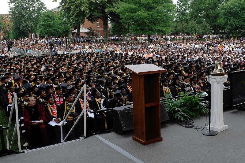 empty podium in front of graduates