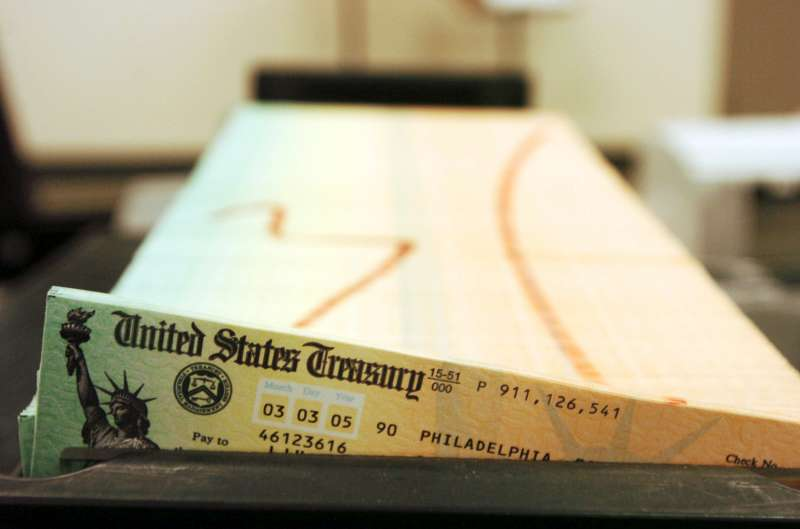 This February 2005 file photo shows trays of printed social security checks waiting to be mailed from the U.S. Treasury.