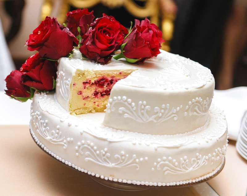 wedding cake with slice taken out