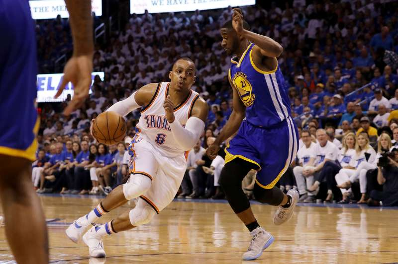 Randy Foye #6 of the Oklahoma City Thunder drives against Ian Clark #21 of the Golden State Warriors in the fourth quarter in game three of the Western Conference Finals during the 2016 NBA Playoffs at Chesapeake Energy Arena on May 22, 2016 in Oklahoma City, Oklahoma.