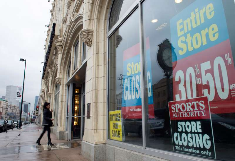Customers come and go from the Sports Authority flagship 'Sports Castle' at 1000 Broadway in Denver on Tuesday, April 26, 2016. Sports Authority has abandoned hope of reorganizing and exiting bankruptcy and instead will count on buyers to save parts of its sprawling retail chain, company lawyer Robert Klyman told a judge Tuesday.