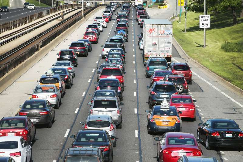 Traffic jams up on the Kennedy Expressway leaving the city for the Memorial Day weekend on May 23, 2014 in Chicago, Illinois.