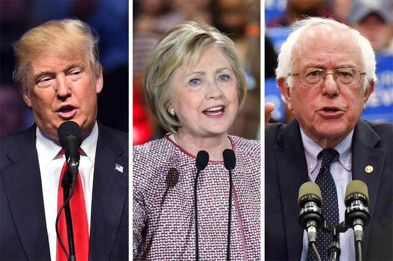 Presidential candidates Donald Trump, Hillary Clinton and Bernie Sanders