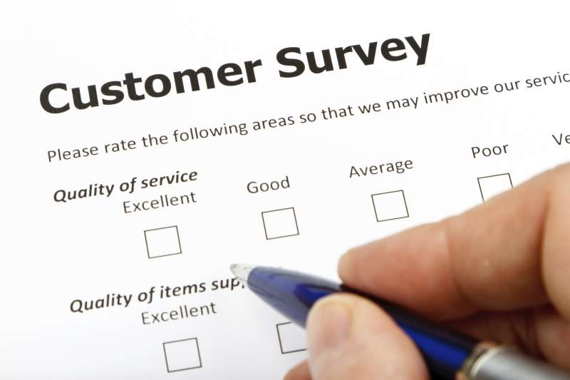 filling out a customer satisfaction survey