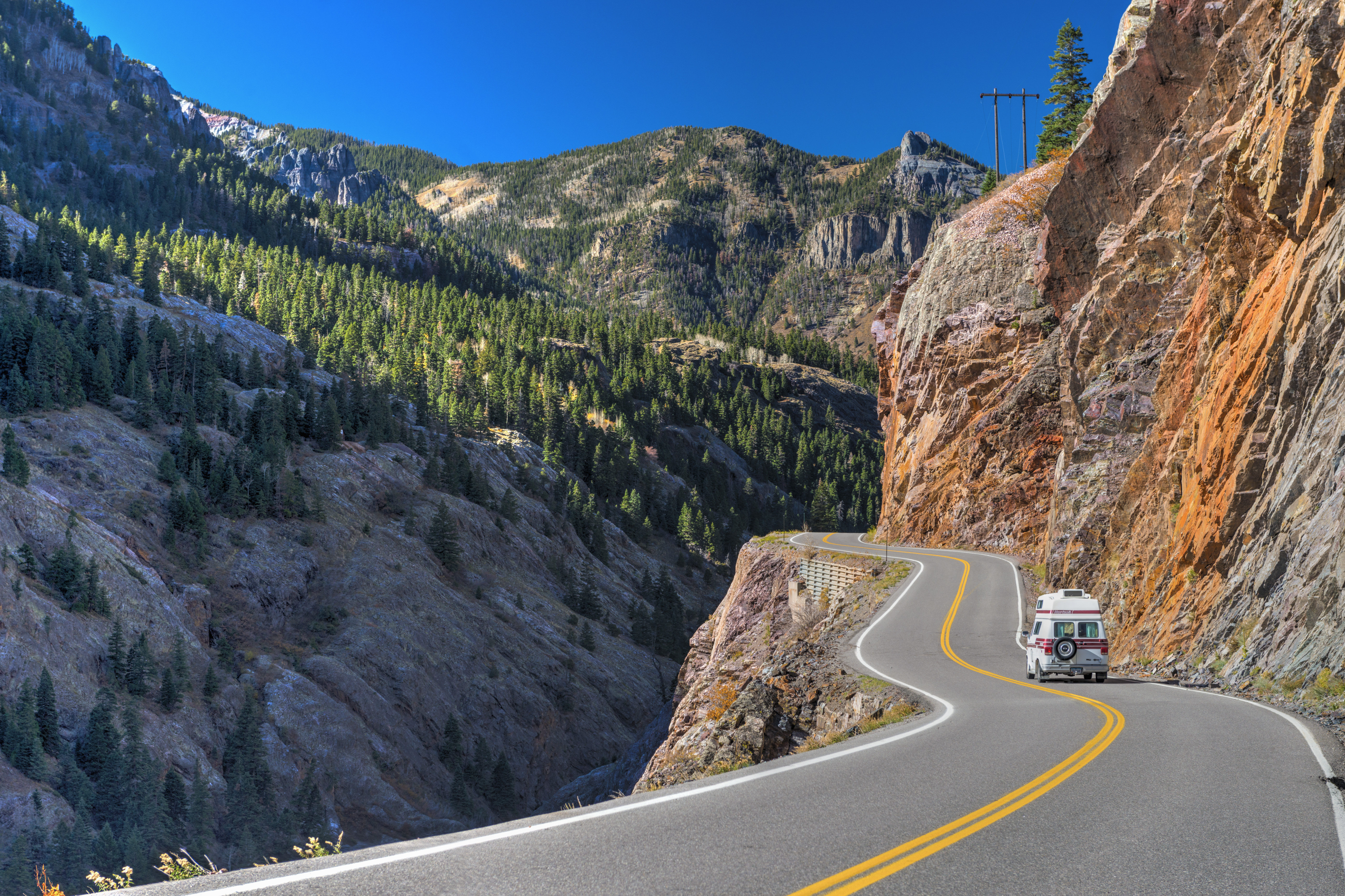 USA, Colorado, between Silverton and Ouray, The Million Dollar Highway part of the San Juan Skyway Scenic Byway