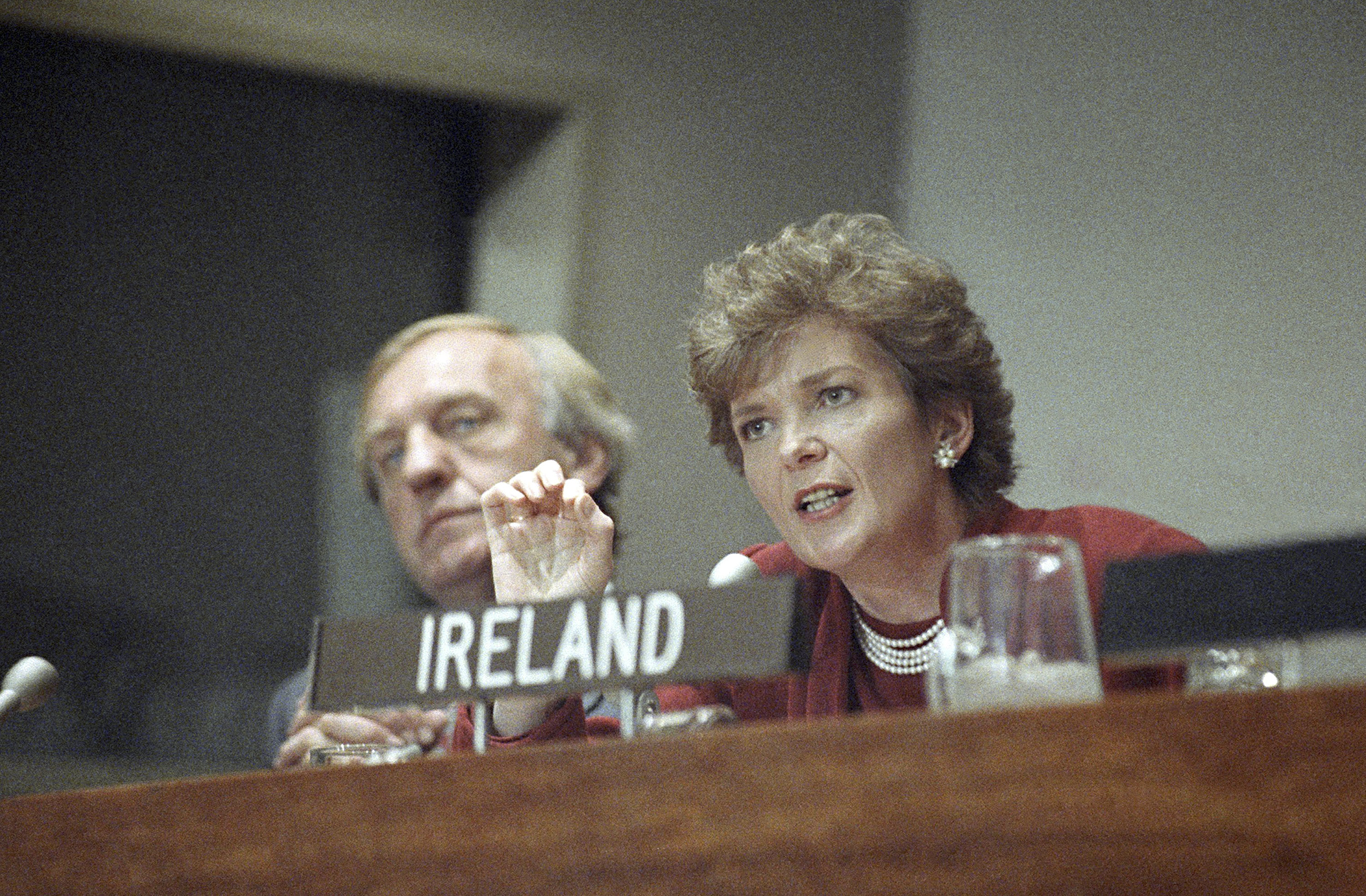 Irish President Mary Robinson, right, is joined by Irish Foreign Minister David Andrews during a news conference at the United Nations, October 7, 1992, New York.