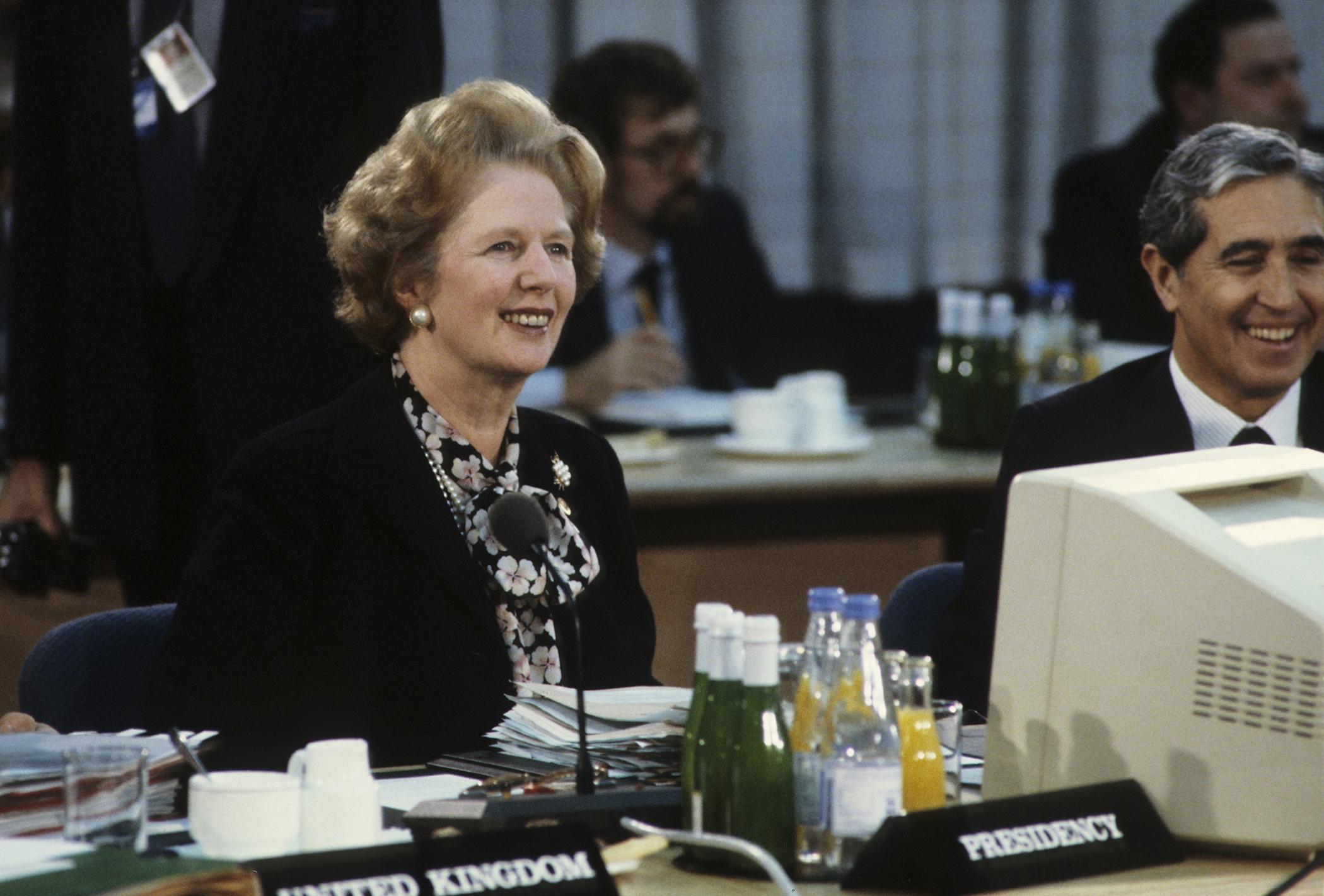 British Prime Minister Margaret Thatcher during an EEC summit in London, 6th December 1986.