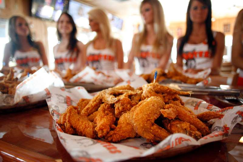 Chicken wings served to guests at a gathering introducing the newly renovated original Hooters, Clearwater, Florida, February 10, 2012.