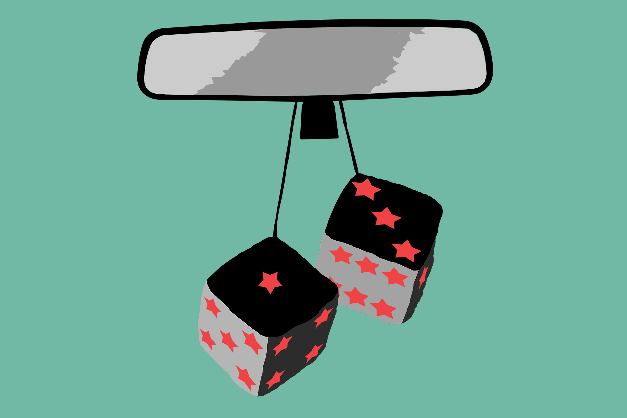 dice with stars hanging from mirror
