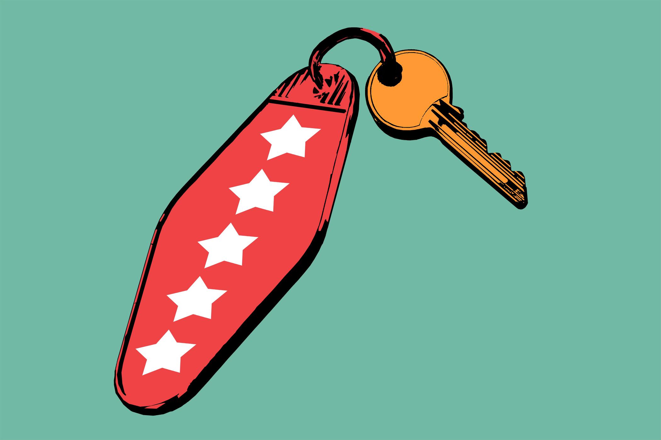 key with stars on keychain