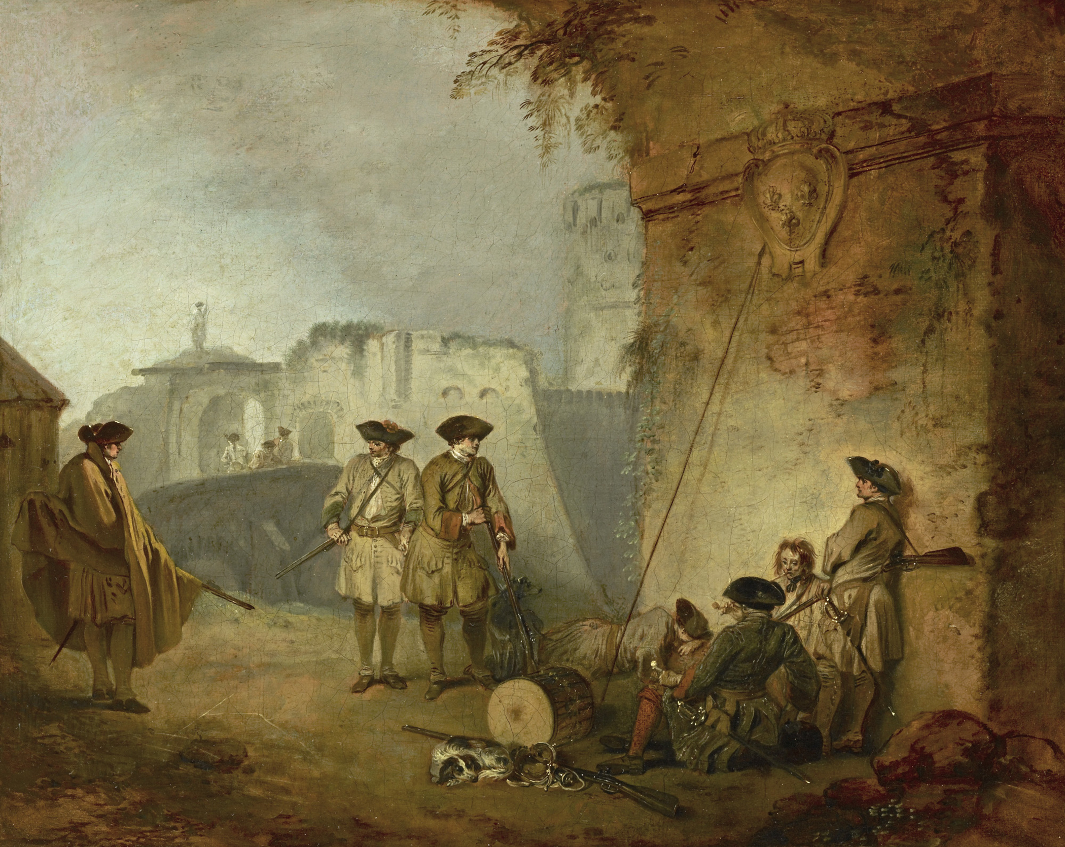 """""""The Portal of Calenciennes"""" by Jean-Antoine Watteau from the upcoming exhibition, """"Watteau's Soldiers: Scenes of Military Life in Eighteenth Century–France,"""" at The Frick Collection"""