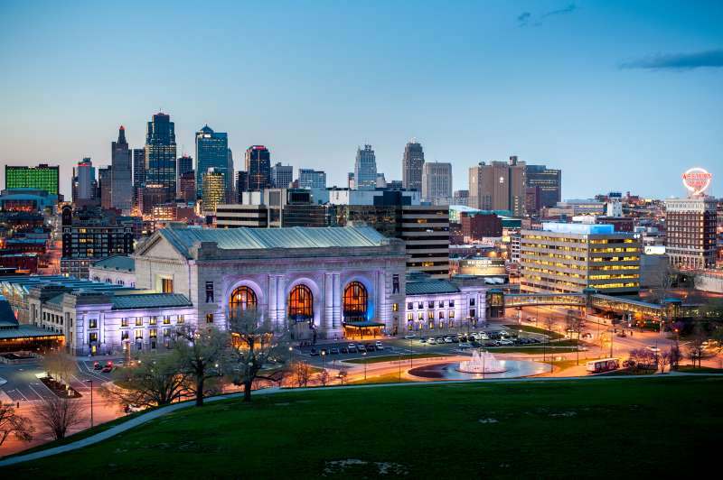 Union Station and downtown Kansas City MO at dusk.