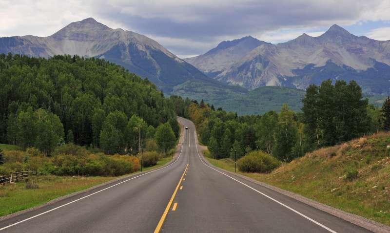Road into the San Juan Mountains and Wilson Peak, Colorado