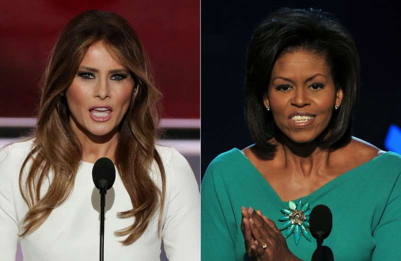 Melania Trump (L), wife of presumptive Republican presidential candidate Donald Trump, speaking yesterday at the Republican National Convention and Michelle Obama, wife of US Democratic presidential candidate Barack Obama, greeting the audience at the Democratic National Convention in  2008 .