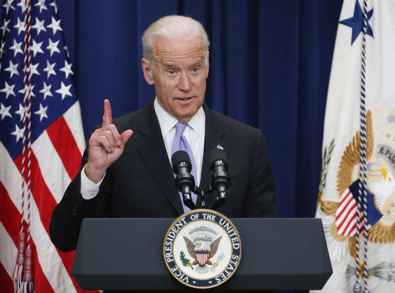 Vice President Joseph Biden speaks at the Eisenhower Executive Office Building April 14, 2016 in Washington, DC. Biden hosted the the 'Its On Us Champions of Change' event at the White House and spoke about stopping sexual assaults on college campuses.