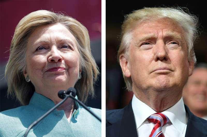 (left) Democratic Presidential candidate Hillary Clinton; (right) Republican Presidential candidate Donald Trump
