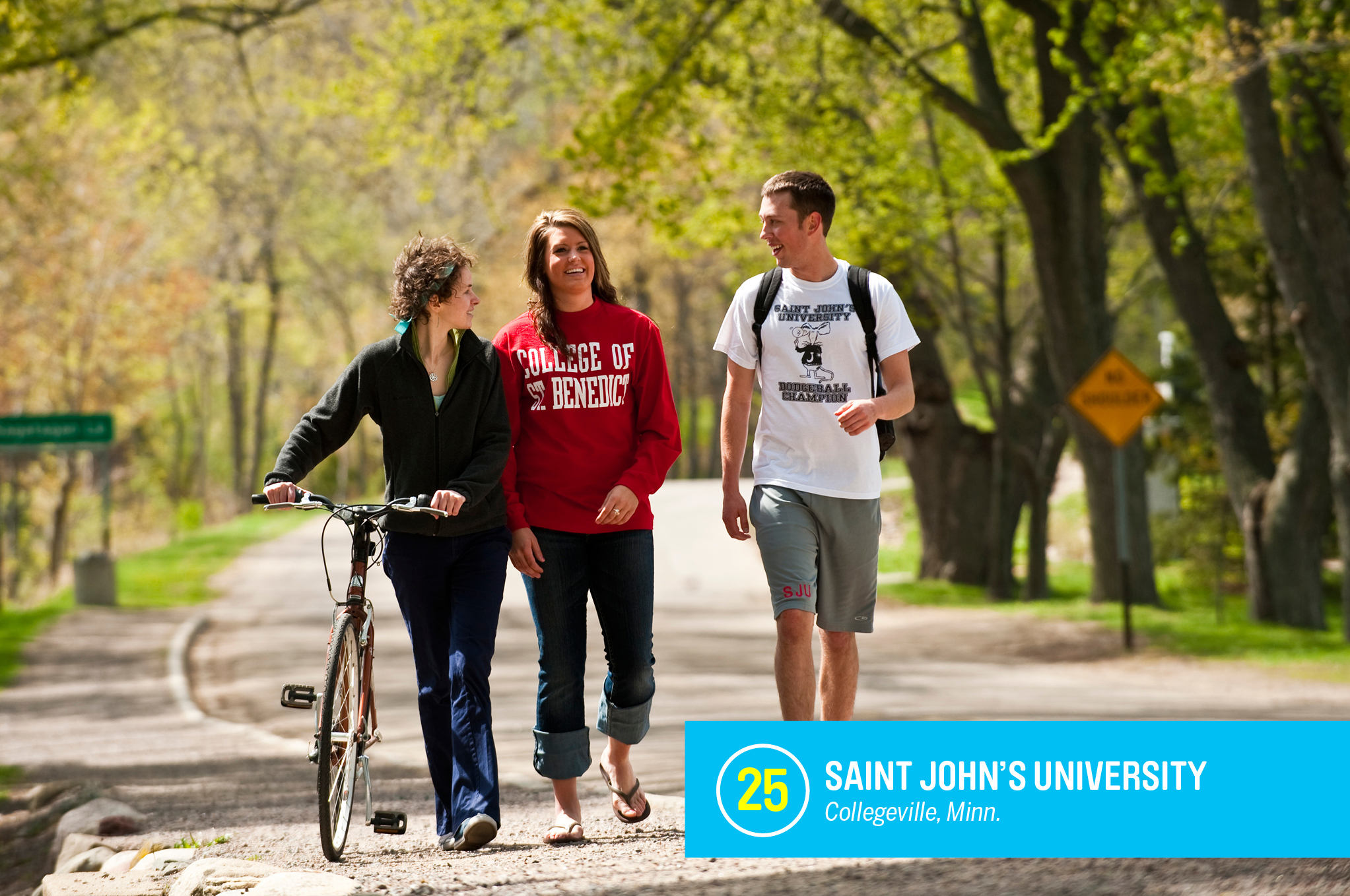 """<a href=""""https://money.com/best-colleges/profile/saint-johns-university/"""" target=""""_blank"""">Saint John's University</a> is a Catholic school for men that partners with a nearby women's school, College of Saint Benedict, to share academic programs and campuses resources. Nearly 80% of students at Saint John's graduate within six years, 12% higher than similar schools. <a href=""""https://money.com/best-colleges/profile/saint-johns-university/"""" target=""""_blank"""">FULL PROFILE</a>"""