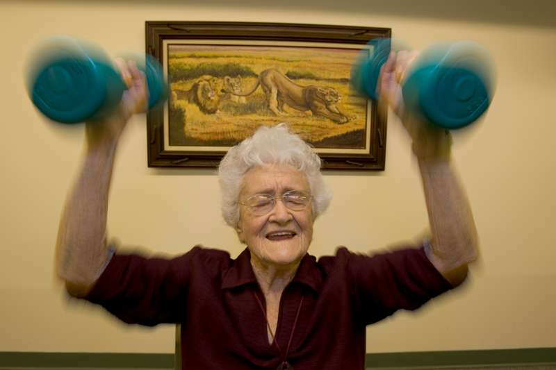 100-year-old woman lifts weights each morning in Loma Linda, California.