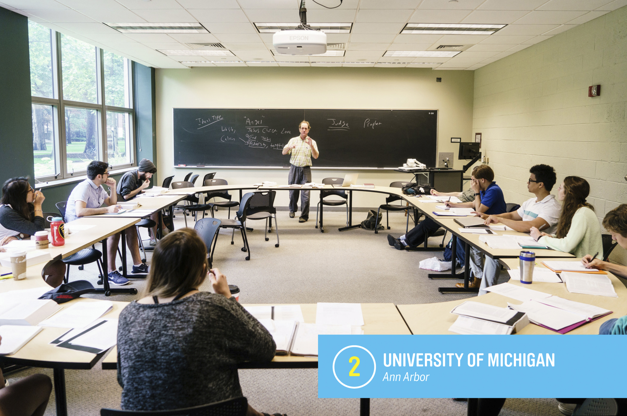 """The <a href=""""https://money.com/best-colleges/profile/university-of-michigan-ann-arbor/"""" target=""""_blank"""">University of Michigan</a> accepts less than a third of the nearly 50,000 students who apply, and is nearly as popular with out-of-staters as with Michiganders. State residents who get in enjoy an especially good deal: Michigan is one of 11 colleges in Money's top 50 where the average in-state cost of a degree is less than $100,000. <a href=""""https://money.com/best-colleges/profile/university-of-michigan-ann-arbor/"""" target=""""_blank"""">FULL PROFILE</a>"""