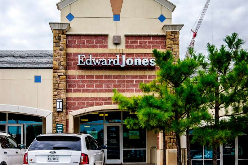 The exterior of Edward Jones, a financial investment business in a strip mall in Oklahoma City, October 6, 2015.
