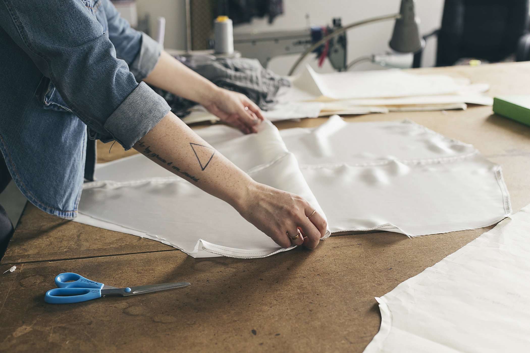 Woman sewing patterns