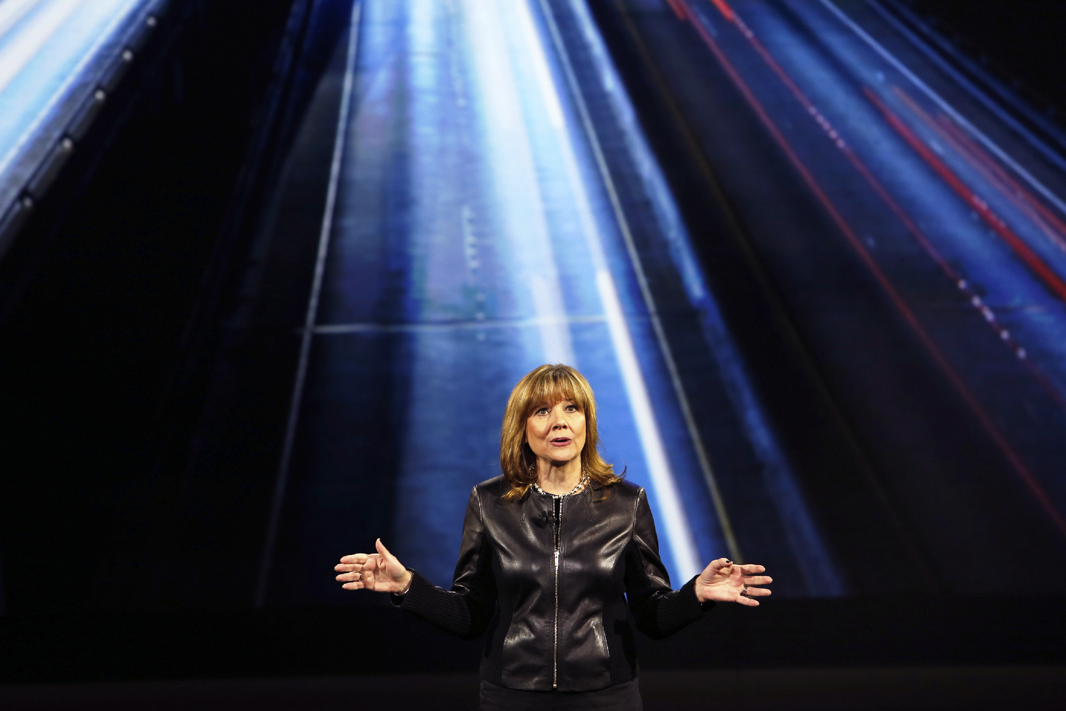 General Motors Chairman and CEO Mary Barra speaks during a keynote address at the 2016 CES trade show in Las Vegas, Nevada January 6, 2016.